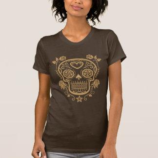 Brown-Zuckerschädel mit Rosen T-shirt