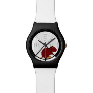 BrownGerbil in der Hamster-Rad-schwarzen u. weißen Uhren