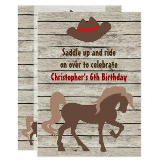 Brownpferde-und -cowboyhut-Western-Geburtstag Karte