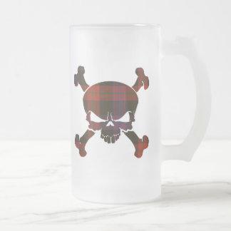 Browntartan-Schädel keine Fahnen-Tasse Mattglas Bierglas