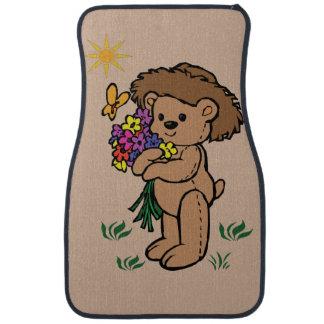 Brownteddy-Bär, der Blumen hält Autofußmatte