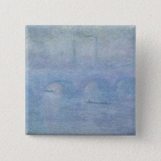 Brücke Claude Monets | Waterloo: Effekt des Nebels Quadratischer Button 5,1 Cm