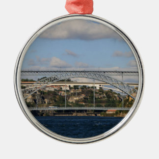 Brücke Dom Luis I, Porto, Portugal Rundes Silberfarbenes Ornament