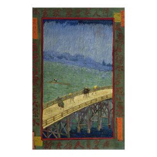 Brücke im Regen nach Hiroshige durch Vincent van Personalisierte Flyer