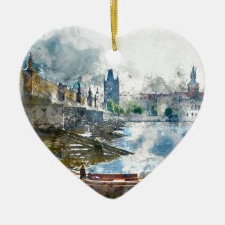 Brücke mit kleinem Boot in Prag, Tschechische Keramik Herz-Ornament