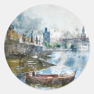 Brücke mit kleinem Boot in Prag, Tschechische Runder Aufkleber