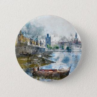 Brücke mit kleinem Boot in Prag, Tschechische Runder Button 5,1 Cm