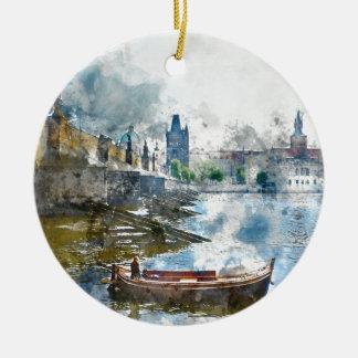 Brücke mit kleinem Boot in Prag, Tschechische Rundes Keramik Ornament