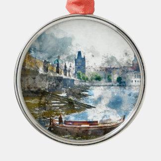 Brücke mit kleinem Boot in Prag, Tschechische Rundes Silberfarbenes Ornament