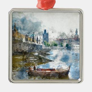 Brücke mit kleinem Boot in Prag, Tschechische Silbernes Ornament
