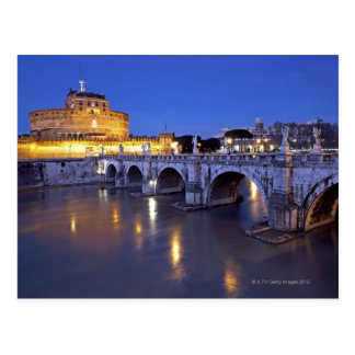 Brücke Sant Angelo und Castel Sant Angelo an Postkarte