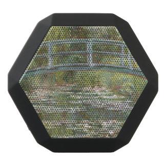 Brücke über einem Teich der Wasser-Lilien durch Schwarze Bluetooth Lautsprecher