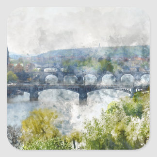 Brücken in Tschechischer Republik Prags Quadratischer Aufkleber
