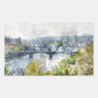 Brücken in Tschechischer Republik Prags Rechteckiger Aufkleber
