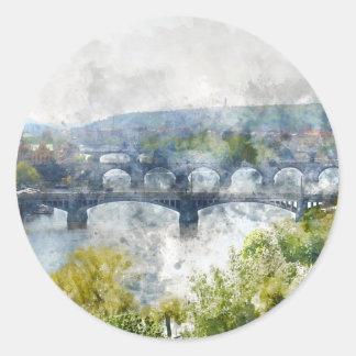 Brücken in Tschechischer Republik Prags Runder Aufkleber