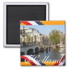 Brücken-Orangen-Kühlschrankmagnet Amsterdams Mager Quadratischer Magnet