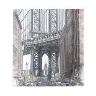 Brücken-Skyline USA New York Manhattan Manhattan Notizblock