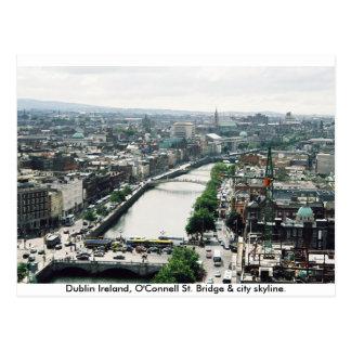 Brücken- u. Stadt-Skyline Dublins Irland O'Connell Postkarte
