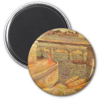 Brücken über der Seine durch Vincent van Gogh Runder Magnet 5,7 Cm