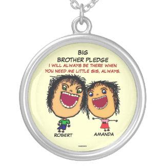 Bruder-Bürgschaft zur Schwester Halskette Mit Rundem Anhänger