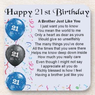Bruder-Gedicht-21. Geburtstag Untersetzer