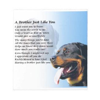 Bruder-Gedicht - Rottweiler Notizblock