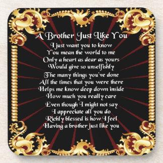 Bruder-Gedicht - schwarzer Entwurf Untersetzer