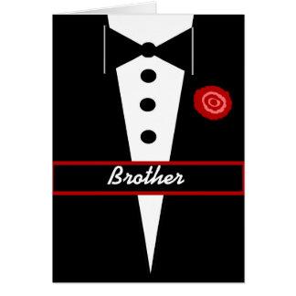 BRUDER ist meine Trauzeuge-Karte mit Tux und Rose Grußkarte