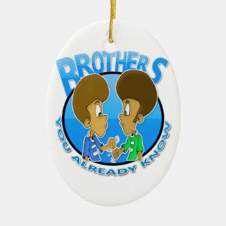 Brüder Ovales Keramik Ornament