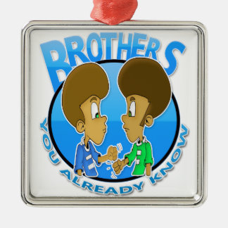 Brüder Quadratisches Silberfarbenes Ornament
