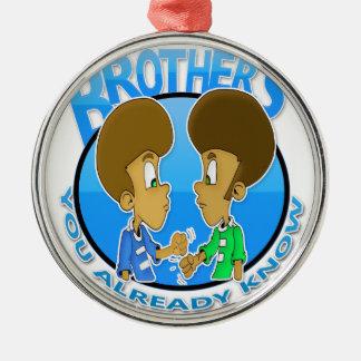 Brüder Rundes Silberfarbenes Ornament