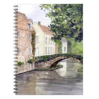 Brügge-Aquarell-Malerei von Farida Greenfield Notizblock