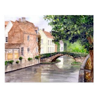 Brügge-Aquarell-Malerei von Farida Greenfield Postkarte