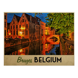 Brügge Belgien nachts Postkarte