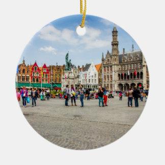Brügge-Marktplatz-Fotografie Keramik Ornament