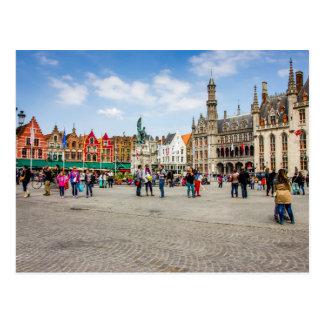 Brügge-Marktplatz-Fotografie Postkarte