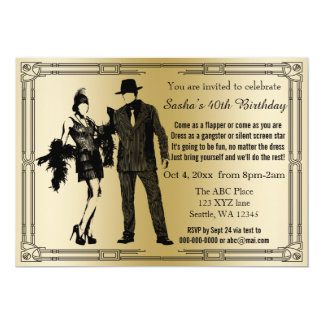 Brüllendes Dekoprallplattenmädchen und -gangster 12,7 X 17,8 Cm Einladungskarte