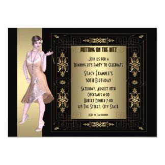 Brüllendes Zwanzigerjahre Geburtstags-Party 14 X 19,5 Cm Einladungskarte