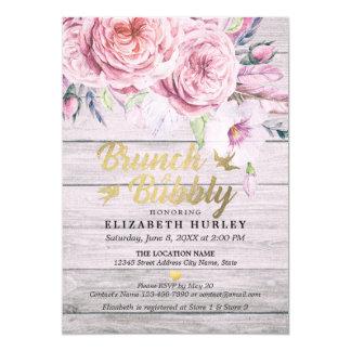 Brunch-sprudelnder Brautpartywatercolor-Blumenholz Karte