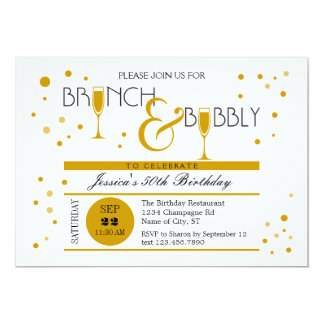 Brunch und sprudelnde Geburtstags-Einladung 12,7 X 17,8 Cm Einladungskarte