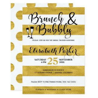 Brunch und sprudelndes WeißstreifengoldBrautparty 12,7 X 17,8 Cm Einladungskarte