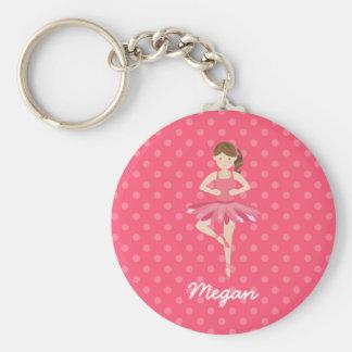 Brünette Ballerina auf rosa Polka-Punkten Schlüsselanhänger
