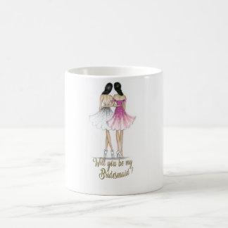 Brünette Braut/brünette Brautjungfern-Tasse Kaffeetasse