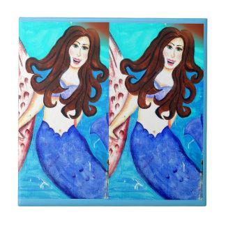 brünette Doppelmeerjungfrauen blau Keramikfliese