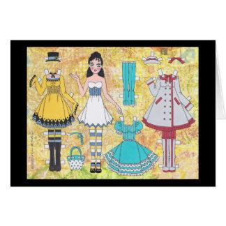 Brünette Lolita Papierpuppen-leere Karte
