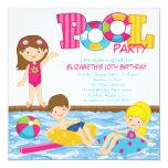 Brünette Mädchen-Geburtstags-Pool-Party Einladung