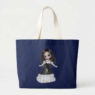 Brünette Prinzessin Black Bag Jumbo Stoffbeutel
