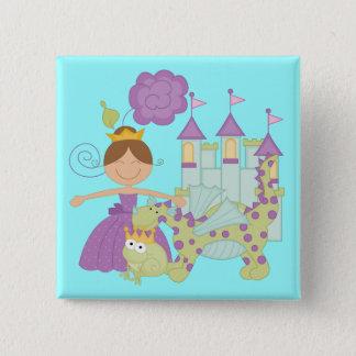 Brünette Prinzessin Quadratischer Button 5,1 Cm