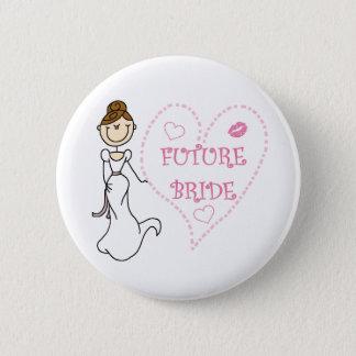 Brünette zukünftige Braut Runder Button 5,1 Cm