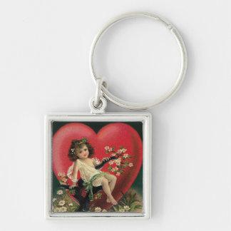 Brünetter Mädchen-Herz-Gänseblümchen-Baum Schlüsselanhänger